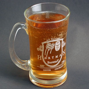 laser engraving on glass beer mug
